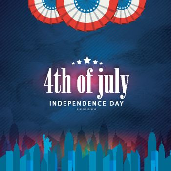 4th of July, American Independence Day background with view of New York skyline.