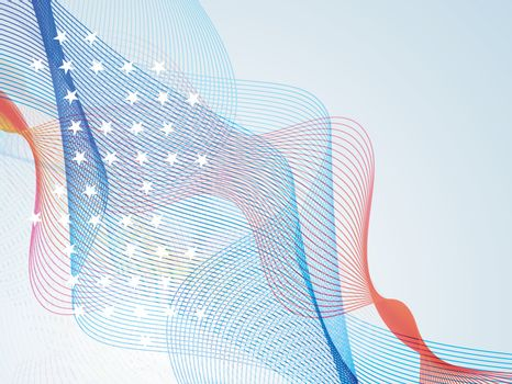 American Flag colors waves for 4th of July.