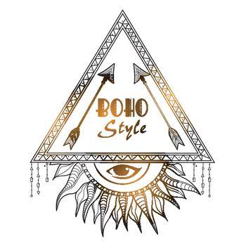 Boho style tribal frame with eye.