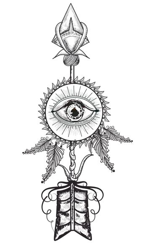 Hand drawn illustration of ornamental arrow with eye, Creative Boho style element.