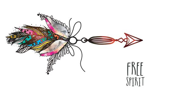 Boho style glossy arrow with colorful ornamental feathers, Creative hand drawn ethnic element.