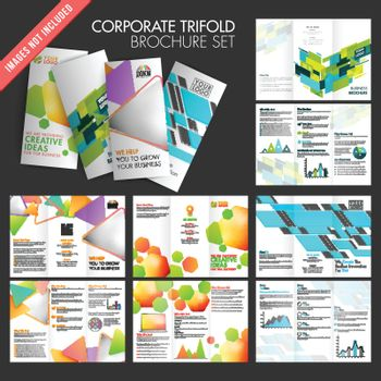 Collection of trifold brochures set.
