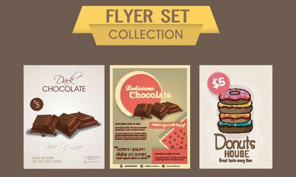 Delicious chocolate and sweet donuts flyer, template or banner set, Food and Drink concept.