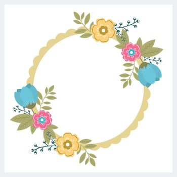 Circular frame design with beautiful flowers and green leaves decoration.