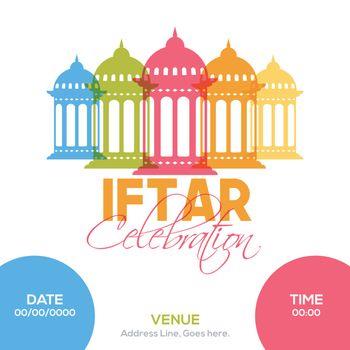 Ramadan Kareem Iftar Celebration Invitation design with colorful arabic lanterns decoration.