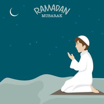 Praying Muslim Boy on occasion of Ramadan Mubarak.