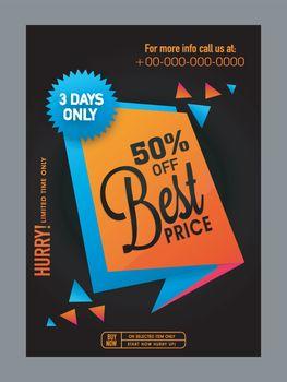 Best Price Sale poster, banner or flyer design.