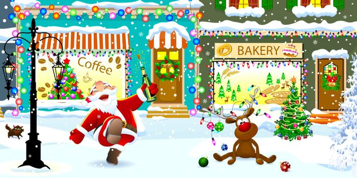 Joyful Santa Claus and deer on a snowy city street celebrate Christmas.