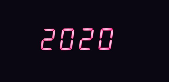 isolated 2 0 2 0 written with on a black background, happy new year 2020 concept.