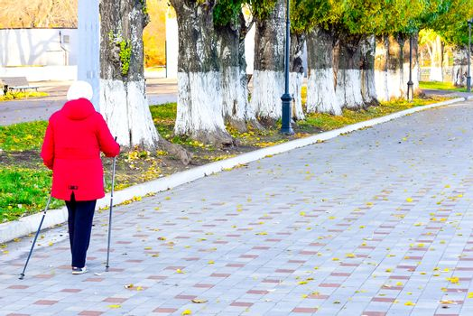 simple and sports walks in the Park in mid-autumn