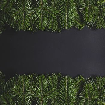 Pine Christmas tree branches on black paper background flat lay top view mock-up
