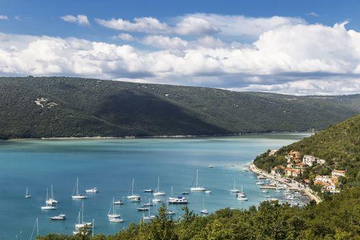 An aerial view of Trget, Istria, Croatia