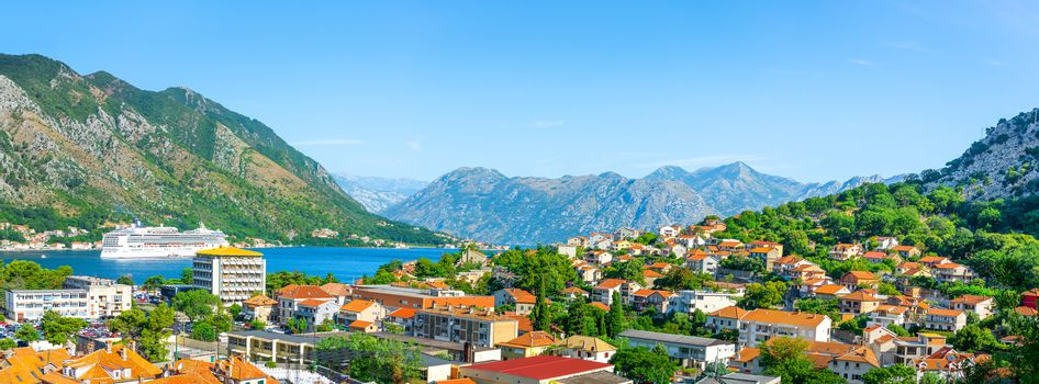 Kotor Bay. Top view at bay Kotor, Montenegro