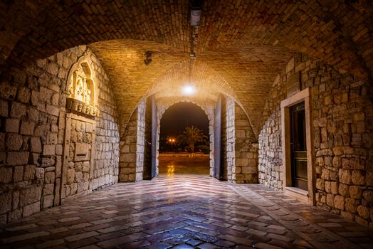 Sea gate at night in Kotor, Montenegro