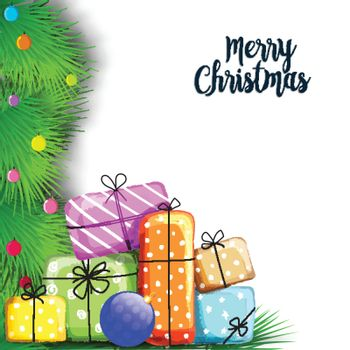 Merry Christmas celebration with colorful gift boxes on fir branches decorated white background.