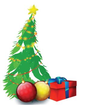 Big Xmas Tree, Glossy Balls and Wrapped Gift Box on white background for Merry Christmas celebration.