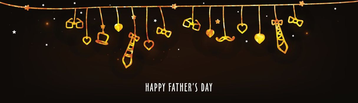 Happy Father's Day banner design decorated with hand drawn doodle style elements.