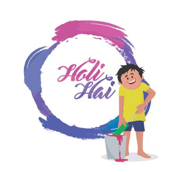 Cute boy playing colors on occasion of Holi Festival.