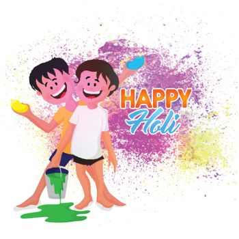 Cute boys playing colors on occasion of Holi Festival.