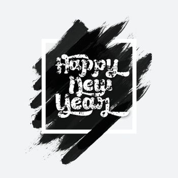 Happy New Year typographic background with abstract brush strokes. Creative vector illustration.