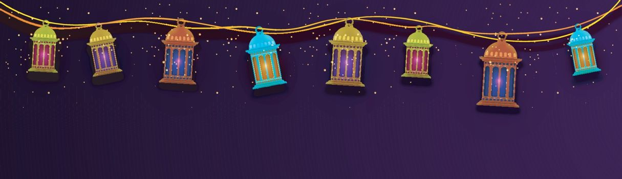 Social Media banner design decorated with colorful traditional lanterns for Muslim Community Festivals concept.