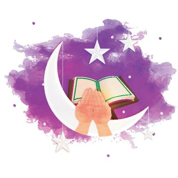 Abstract watercolor splash background with illustration of Crescent Moon, Hanging Stars, Praying Human Hand and Holy Quran for Islamic Festivals concept.