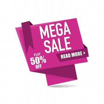 Mega Sale Paper Tag or Banner design.