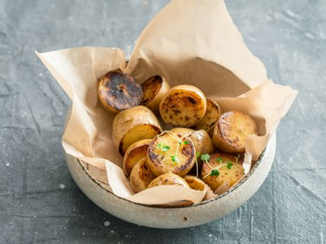 roasted baby potatoes and microgreen