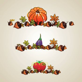 Happy Thanksgiving Day celebration background with hand drawn illustration of vegetables, acorns and maple leaves.
