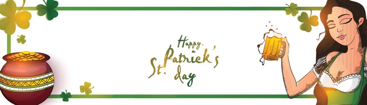 Happy St. Patrick's Day banner design with illustration of leprechaun girl, gold coins pot and shamrock leaves.