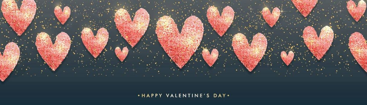 Happy Valentine's Day celebration banner design decorated with creative glittering hearts.