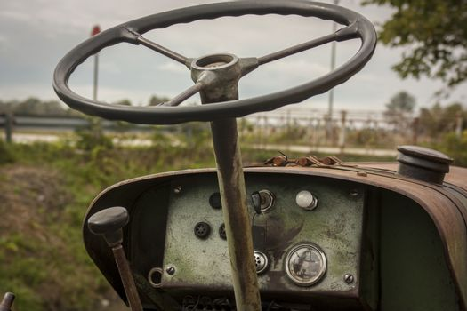 Dashboard of a vintage tractor.
