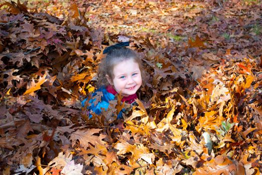 Cute Girl Youngster in fall pile of colorful leaves