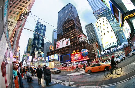 New York, NY, USA - October 09, 2012: Times Square, featured with Broadway Theaters and huge number of LED signs, is a symbol of New York City and the United States, October 12, 2012 in Manhattan, New York City