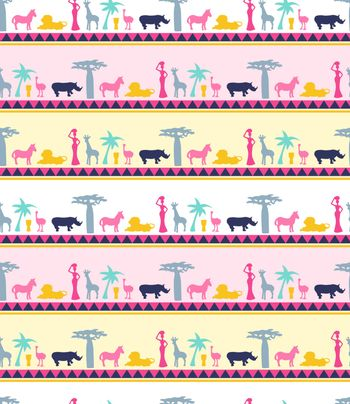 Vector hand drawn seamless pattern of Africa jungle elements with african animals and trees silhouette illustration. Can use for Fashion template for clothes, textiles, t-shirt design and fabric.