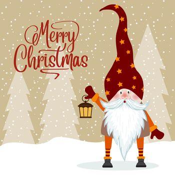 Gnome and his lantern. Christmas card. Flat design.
