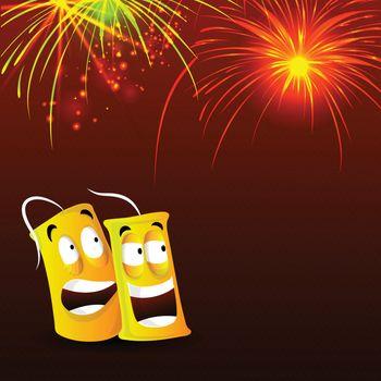 Happy Diwali celebration festive background with funny firecracker and firework explosion, Vector illustration for Indian Festival of Lights celebration.