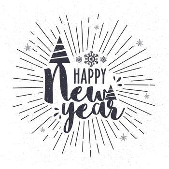 Creative text design Happy New Year on starburst background. Elegant greeting card design.
