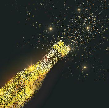 Golden illustration of champagne bottle for party celebration, Creative vector illustration.