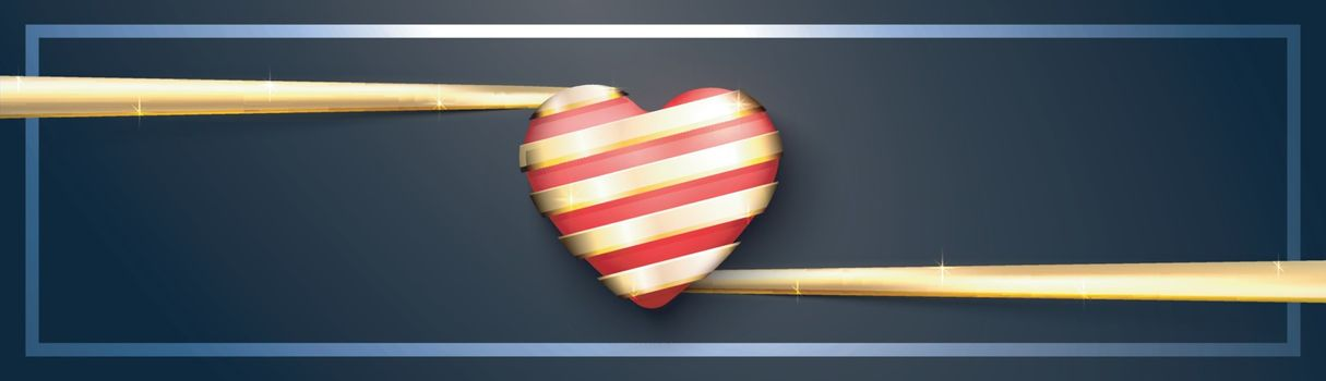 Creative red heart with golden ribbon. Elegant banner design for Valentine's Day celebration.