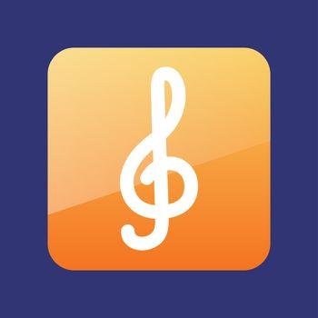 Treble clef flat icon vector