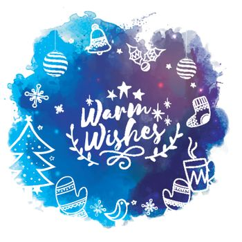 Merry Christmas celebration concept with various elements on abstract blue background.