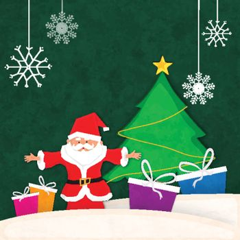 Merry Christmas celebration background with cute Santa Claus, Colorful Gift Boxes and Big Xmas Tree on hanging snowflakes decorated background.