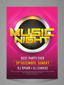 Music Night Party Celebration Flyer, Banner, Pamphlet.