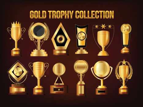 Set of Golden Trophy Cups and Awards, Vector Collection.
