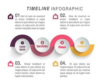 Timeline infographic template layout with graph showing four steps, Can be used for workflow layout, diagram, business reports and presentation.