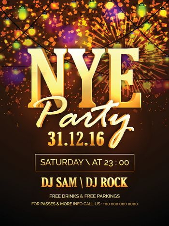 New Year's Eve Party Celebration Poster or Banner.