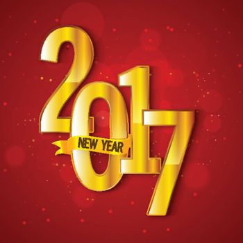 Creative golden text 2017 on shiny red background for Happy New Year celebration concept.