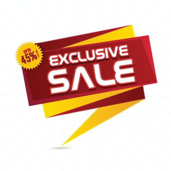 Exclusive Sale Paper Tag or Banner design with Discount Upto 45% Off, Vector illustration.