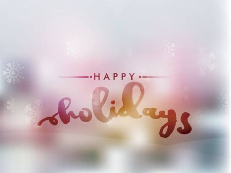 Snowflakes decorated beautiful Happy Holidays Background. Can be used as Greeting, Invitation etc.